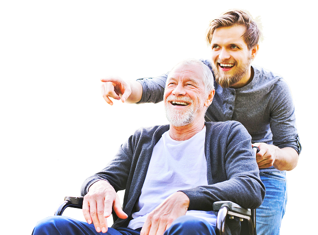 elder man in a wheelchair with caregiver behind him