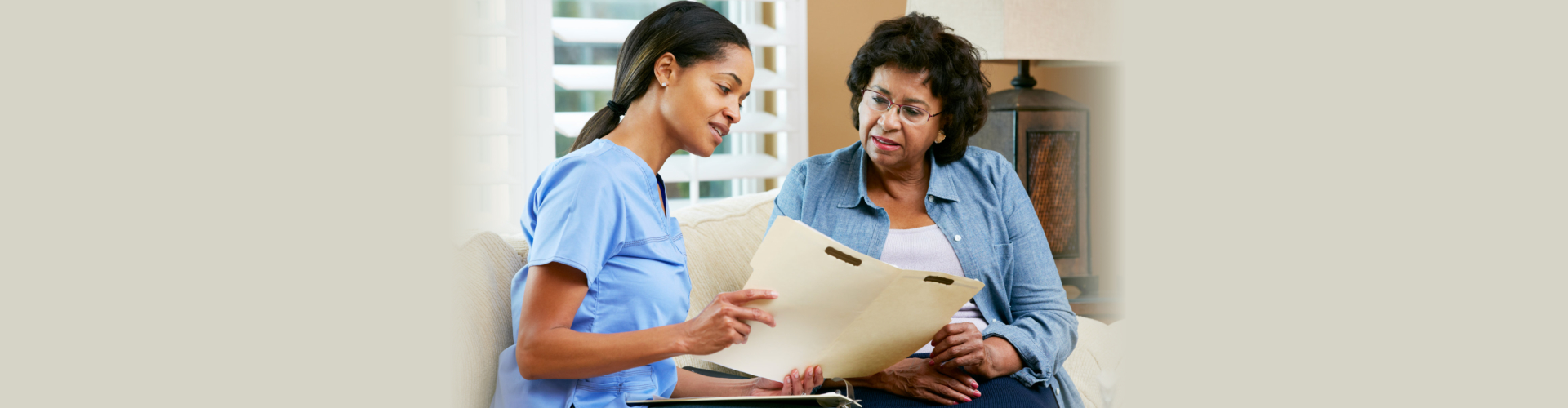 Nurse Discussing Records With Senior Female Patient During Home