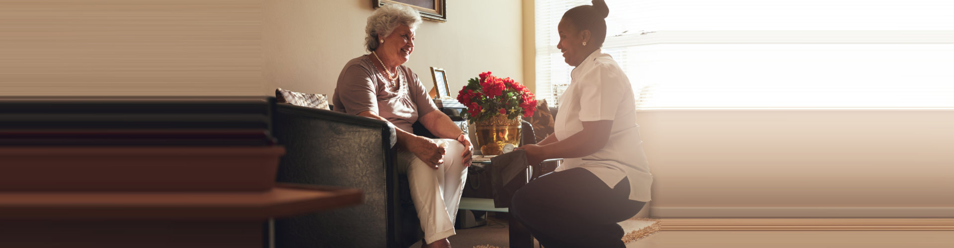 elder woman sitting on the couch with caregiver concept