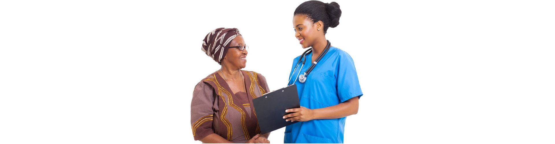 caregiver helping elder woman in choosing the right options concept